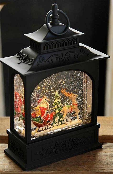 """Raz Imports 11"""" Santa in Sleigh Lighted Water Lantern OUT"""